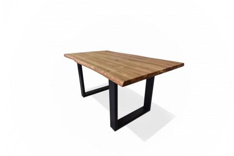Tischplatten Eiche Rustikal (aufgedoppelt) geölt - Tischplatte Eiche Rustikal (aufgedoppelt) geölt, Zwei Längskanten mit Baumkante Unterseite mit Gratleisten - Metall, foliert FSC 100% BV-COC-009552