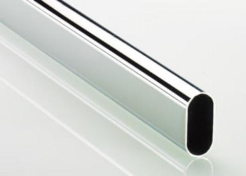Schrankrohr oval 30x15x1,0mm Eisen - Schrankrohr oval 30x15x1,0mm Eisen verchromt ohne Naht  4m Stange  2101014