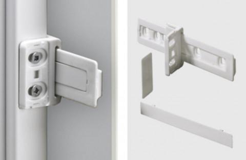 Schleppbeschlag f.Kühlschrank- - Schleppbeschlag für Kühlschrank-  umbauten, Komplett-Set inkl.  Führungsschiene, Kühlschrank-  adapter und Abdeckkappen  Kunststoff weiss  9079390