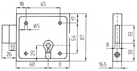 Kellertüraufschraubschloss 150 PZ - Kastenriegelschloss PZ  60 mm Dorn nur Riegel li/re  verzinkt  150P | 2