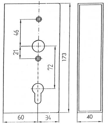 Schlosskasten 40mm 60/72/8 PZW - Schlosskasten 40mm 60/72/8 PZW Stulp 33x166mm verz.Schloss 460461P   2