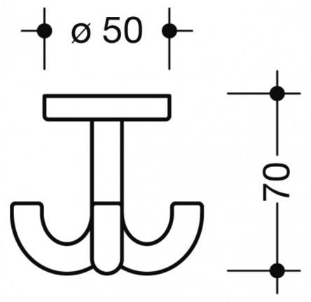 HEWI Dreifachhaken ø50 mm - HEWI Dreifachhaken ø50 mm 90 tiefschwarz 477.90.050 | 2