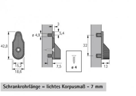 Schrankrohrlager oval 30x15, setilich Zapfen - Schrankrohrlager oval 30x15mm seitlich bef.vernickelt mit Zapfen SL323DD  0070666 | 3