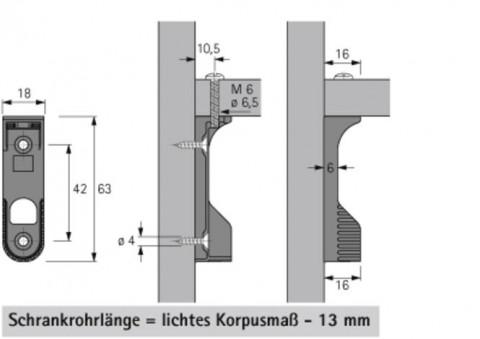 Schrankrohrlager oval 30x15 - Schrankrohrlager oval 30x15 seitlich und Fachboden vernickelt  SL786DD                 0070668   3