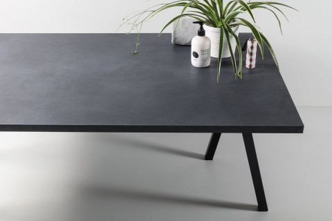 Tischplatten Midnight Stucco - Tischplatten Midnight Stucco Dekor  F257 M02  4-seitig 1mm ABS-Kante, dekorgleich, Folie und Einleger 70% PEFC zertifiziert, BV/CdC/6009552 | 3