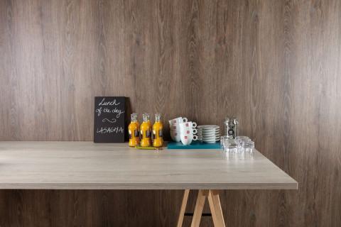 Tischplatten Romantik Eiche - Tischplatten Romantik Eiche Dekorspan H780 W06 mit Hirnholzkante, Folie und Einleger 70% PEFC zertifiziert, BV/CdC/6009552   3