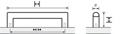 ProDecor Bügelgriff Narona Edelstahl geb. BA736mm D12mm - Pro Decor Bügelgriff Narona Edelstahl gebürstet BA736mm/H30mm/Ø12mm/L748mm 9071013   3