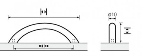 ProDecor Segmentbogengriff Vada Edelstahl geb. BA128mm D10 - Pro Decor Segmentbogengriff Vada Edelstahl gebürstet BA128mm/H30mm/D10mm//L149mm 9070501 | 3