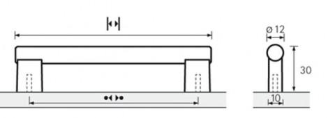 Möbelgriff Viesta Edelstahl - Möbelgriff Viesta Edelstahl  optik BA=192 mm   9995500 | 3